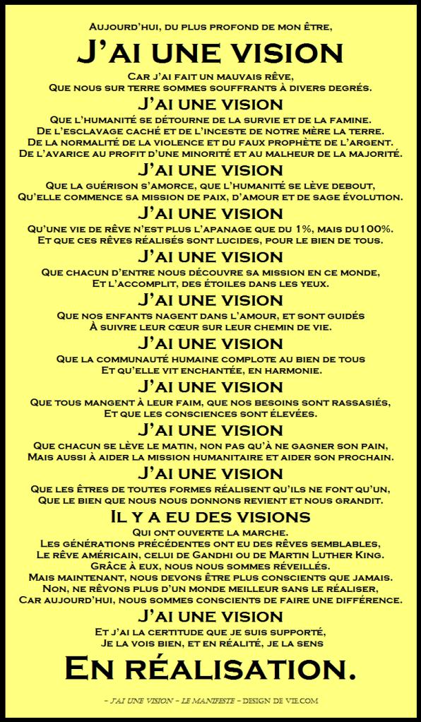 J'ai une vision - Le manifeste