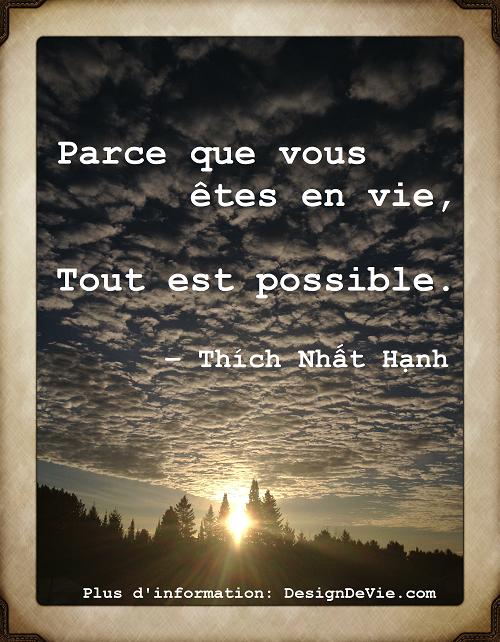 Design de vie zen Image Citation Thich Nhat Hanh Parce que vous êtes en vie, tout est possible - Comment vivre une vie zen et passionnée